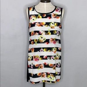 Philosophy Floral Stripes Sleeveless Tunic Top - S